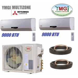 YMGI 18000 Btu 22 SEER 9K+9K Dual Zone Mini Split Heat Pump