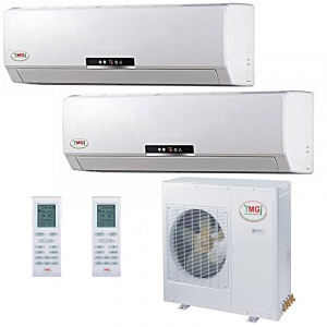 18+18K 42K YMGI Dual Zone Ductless Mini Split Air Conditioner Heat Pump 208-23..