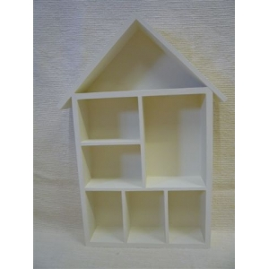 House Shape Wooden Display Shelf Unit Hand Painted in Pale Cream Colour -Thimbles- Doll's House Miniatures– Small Ornaments
