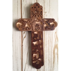 Wooden Nativity cross