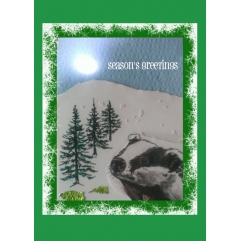 SEASON'S GREETINGS BADGER CARD