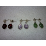Silver Plated Dangly Gemstone Stud ear..
