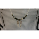 Angel wing and gemstone necklace