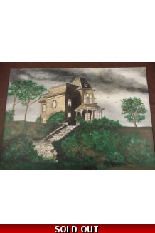 Bates motel horror painting original, Norman bates, haunted house,art, handpai..