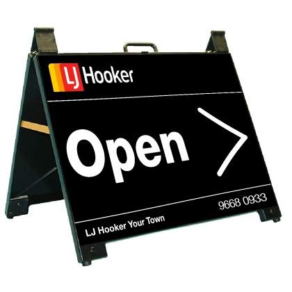 LJ Hooker Open Endurosign Portable A-Frame Black