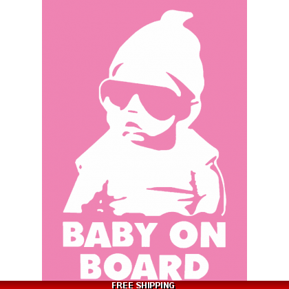 Baby On Board Cool Babe Car Sticker 110x155mm Pink