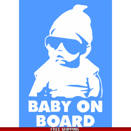 Baby On Board Cool Dude Car Sticker 110x155mm Blue