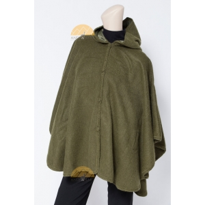 All natural Alpaca lined Hood-Cape-Ruana Button front-