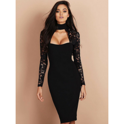 Lace choker midi dress