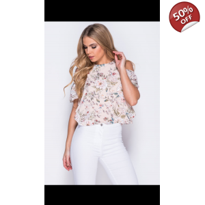 Floral cold shoulder frill top