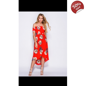 Dip hem floral smacking dress
