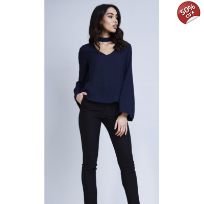 Choker top with flute sleeves