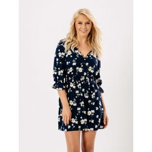 Blue floral button dress