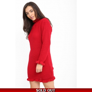 Frill Neck Jumper Dress