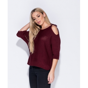 Cold Shoulder Wine Jumper