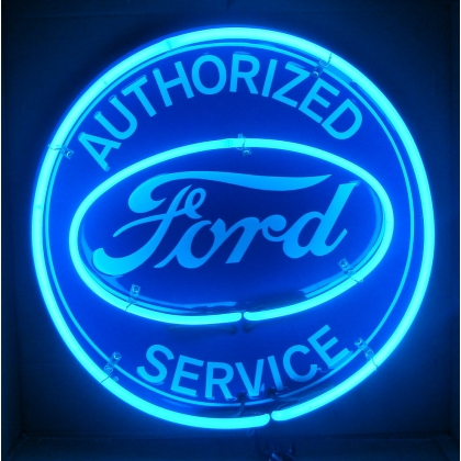 "Authorized Ford Service Neon Sign 25"" Full Canned DOUBLE"