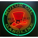 Full Can 24 inch Red Hat Gasoline Neon..