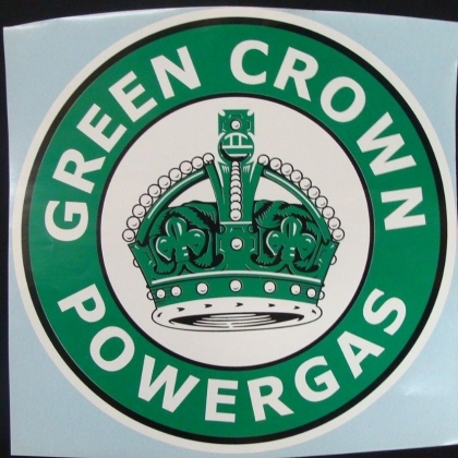 Green Crown Powergas Graphic Decal. approx. 11""