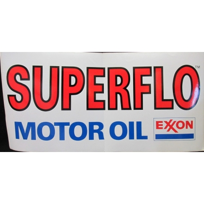 Superflo Motor Oils Exxon White Vinyl Decal