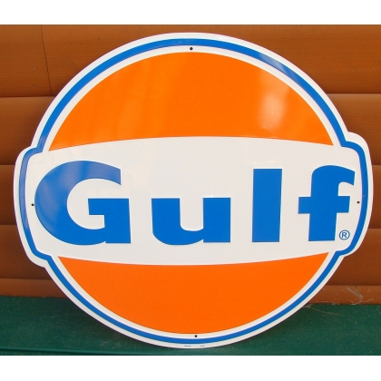 "24"" Gulf Gas Metal Embossed Sign"