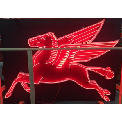 Full Size Neon 8ft Mobil Cookie Cutter Pegasus Sign