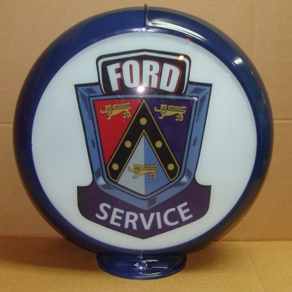 "Limited Edition Ford Service Advertising Gas Pump Globe 13.5"" Glass lenses"