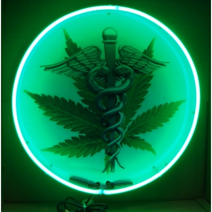 "Medical Marijuana Staff Neon Sign 24"" Full Canned"
