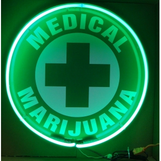 Medical Marijuana Cross Neon Sign 24