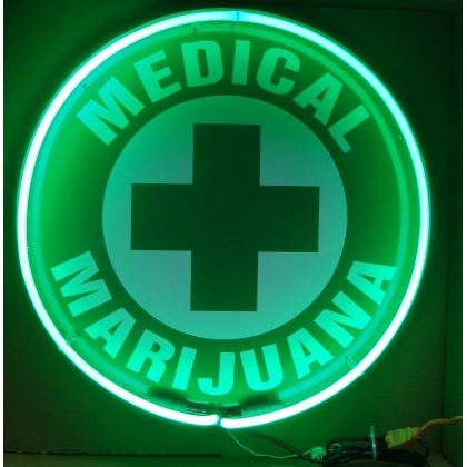 "Medical Marijuana Cross Neon Sign 24"" Full Canned"