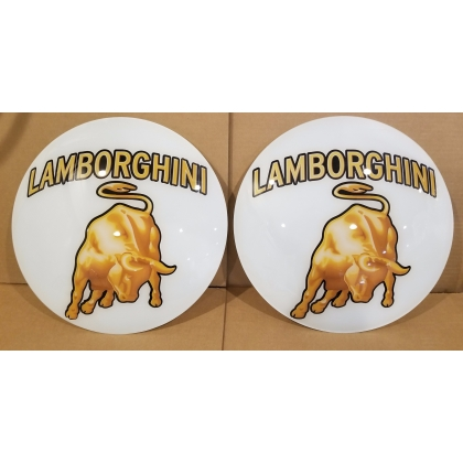 "Lamborghini Advertising Gas Pump Globe 15"" Glass lenses"