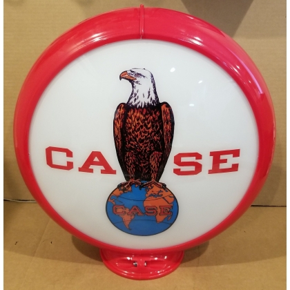"Case Eagle Advertising Gas Pump Globe 13.5"" Glass lenses"