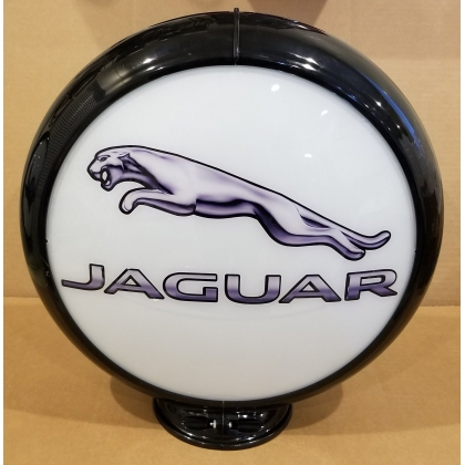 "Jaguar Advertising Gas Pump Globe 13.5"" Glass lenses"