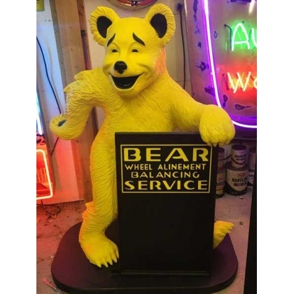 Bear Alignment Advertising Statue W/ Sign