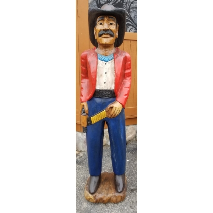 Life Size 6ft tall Mahogany Wood Hand Carved Cowboy Statue