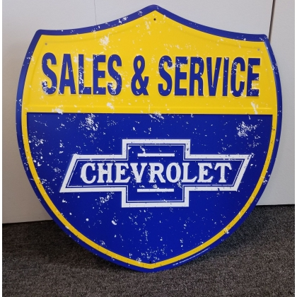 "24"" Tall Chevy Sales And Service Metal Sign"