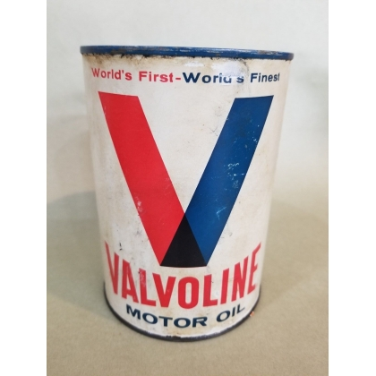 ORIGINAL 1QT VALVOLINE MOTOR OIL CAN COMPOSITE, FULL