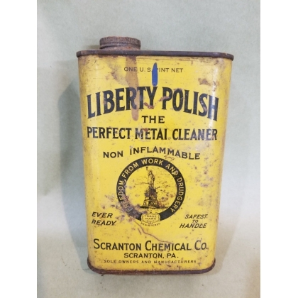 ORIGINAL 1PT LIBERTY POLISH CLEANER CAN Metal, PARTIALLY FULL