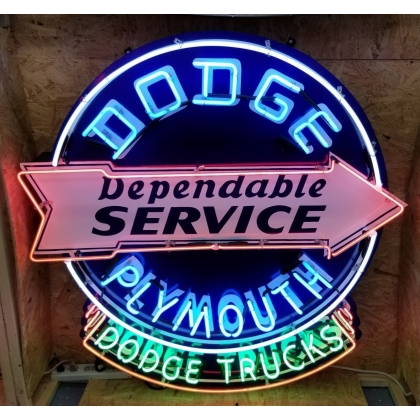 4FT X 4FT DODGE PLYMOUTH SERVICE NEON SIGN *CUSTOM MADE