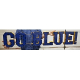 MICHIGAN GO BLUE FOOTBALL METAL SIGN H..
