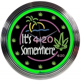 It's 4:20 Somewhere Neon Clock 15