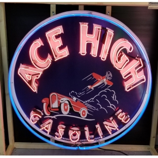 45in ACE HIGH GASOLINE ROUND NEON SIGN..