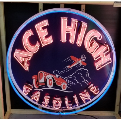 45in ACE HIGH GASOLINE ROUND NEON SIGN *new sign full canned