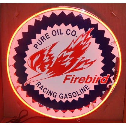 Pure Oil Co. Firebird Full Canned Neon 24 inches round