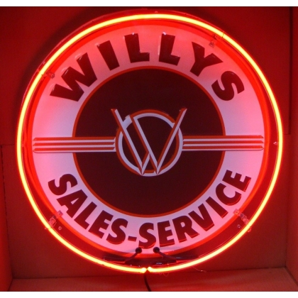 Willy's Sales Service Neon Sign 24 inches round