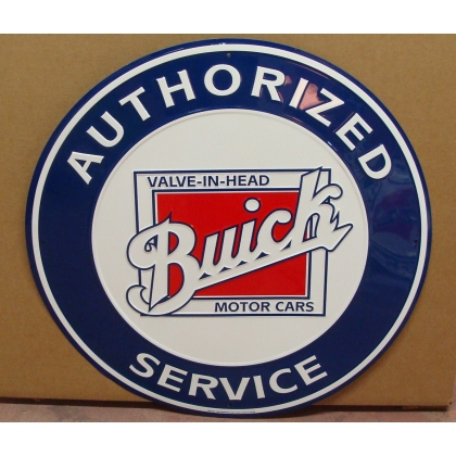 "24"" Round Authorized Buick Service Metal Embossed Sign"