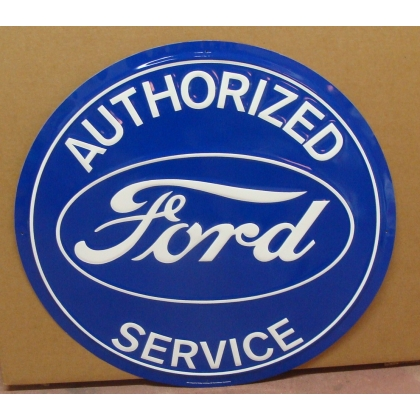 "24"" Round Authorized Ford Service Metal Embossed Sign NEW"
