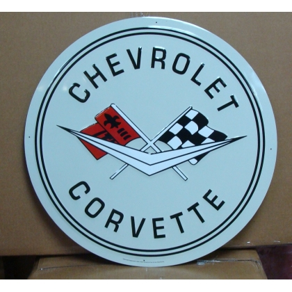 "24"" Round Chevrolet Corvette  Metal Embossed Sign"