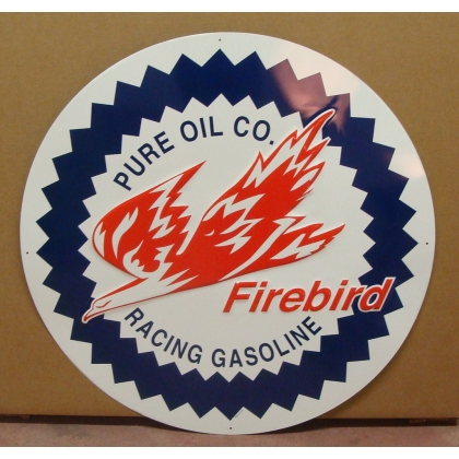 "24"" Round Firebird Metal Embossed Sign"