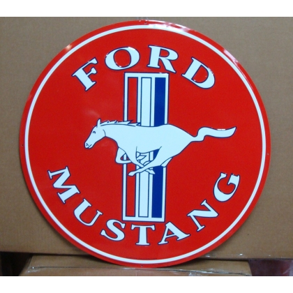 "24"" Round Ford Mustang Metal Embossed Sign"