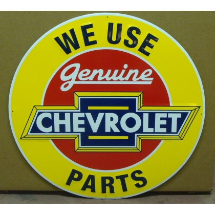 "24"" Round Chevrolet Genuine Parts Metal Embossed Sign NEW"
